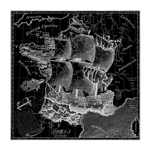 iCanvas Antique Map of France (1796) Graphic Art on Canvas in Black