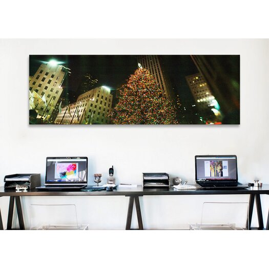 iCanvasArt Christmas Tree Lit up at Night, Rockefeller Center, Manhattan, New York City Photographic Print on Canvas in Color