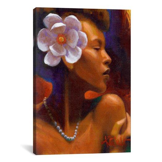 """iCanvasArt """"Woman With Pearl Neclace"""" Canvas Wall Art by Keith Mallett"""