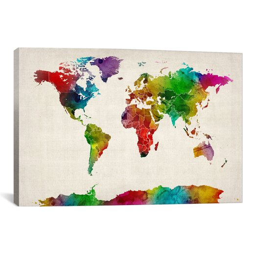 iCanvas 'Watercolor Map of the World III' by Michael Tompsett Graphic Art on Canvas