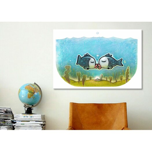 iCanvas 'Kissy Fish' by Daniel Peacock Graphic Art on Canvas