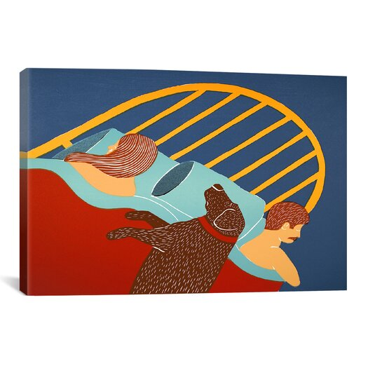 iCanvas Hogging the Bed Chocolate Canvas Print Wall Art