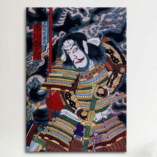 iCanvas Japanese Samurai with Katana Woodblock Painting Print on Canvas