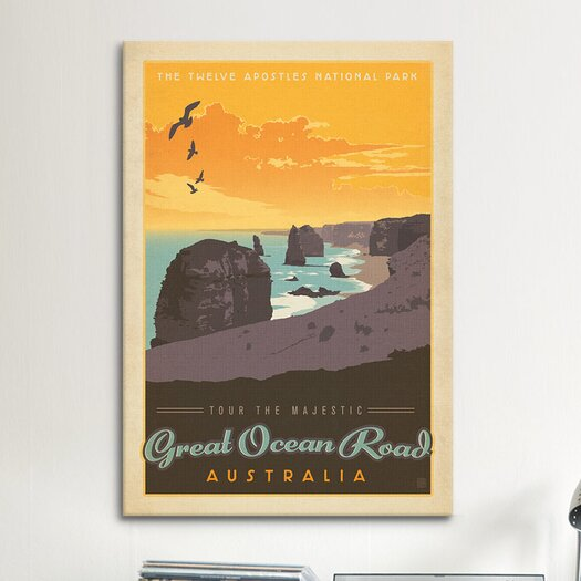 iCanvas 'Great Ocean Road, Australia' by Anderson Design Group Vintage Advertisement on Canvas