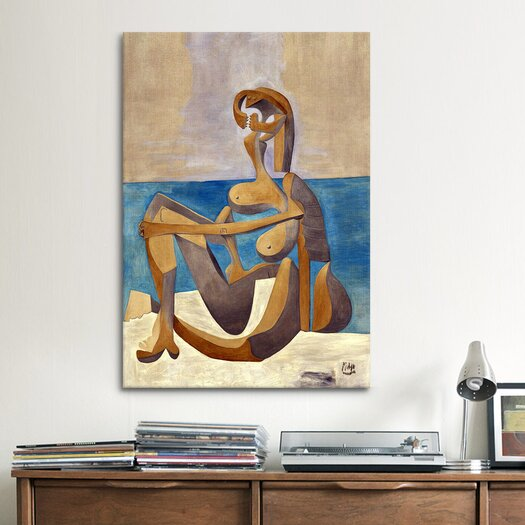iCanvasArt 'Seated Bather' by Pablo Picasso Painting Print on Canvas