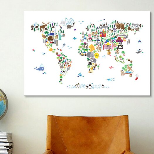 iCanvasArt 'Animal Map of the World' by Michael Tompsett Graphic Art on Canvas