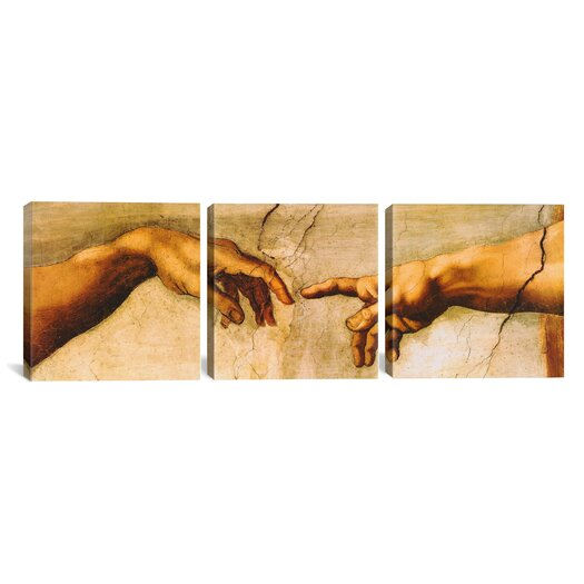 iCanvas Michelangelo The Creation of Adam Di Lodovico Buonarroti Simoni 3 Piece on Canvas Set