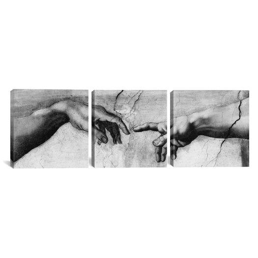 iCanvas Michelangelo The Creation of Adam V Di Lodovico Buonarroti Simoni 3 Piece on Canvas Set