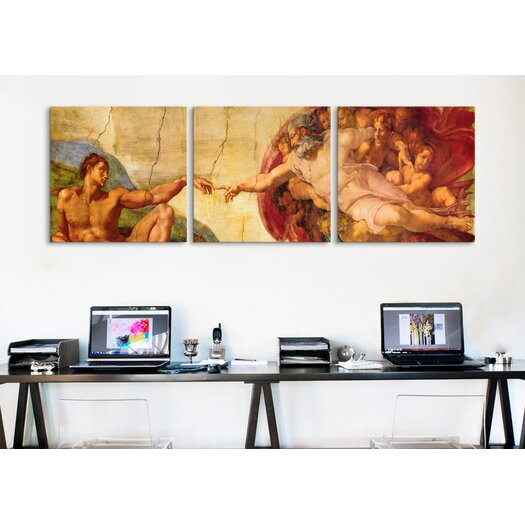 iCanvas Michelangelo Creation of Adam Di Lodovico Buonarroti Simoni 3 Piece on Canvas Set