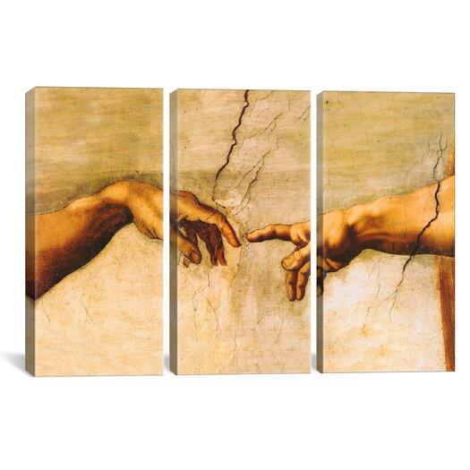 iCanvasArt Michelangelo di Lodovico Buonarroti Simoni The Creation of Adam 3 Piece on Canvas Set