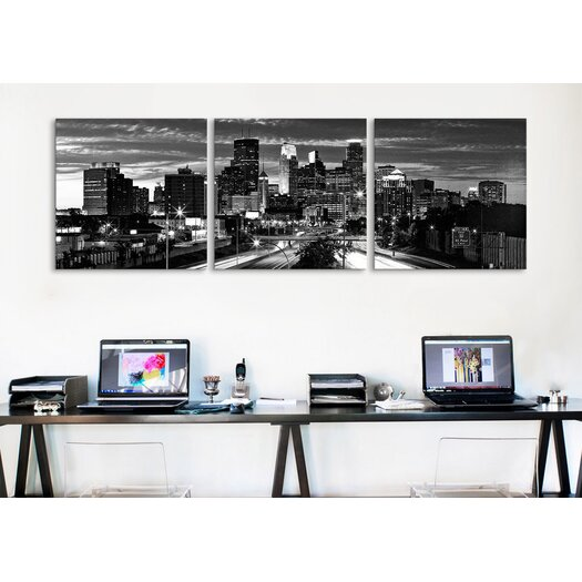 iCanvas Panoramic Photography Minneapolis Skyline Cityscape Evening 3 Piece on Canvas Set in Black and White