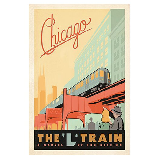 iCanvasArt 'The L Train - Chicago, Illinois' by Anderson Design Group Vintage Advertisment on Canvas