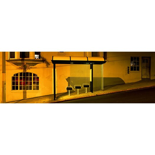 iCanvas Panoramic California, San Francisco, Bus Stop at Night Photographic Print on Canvas