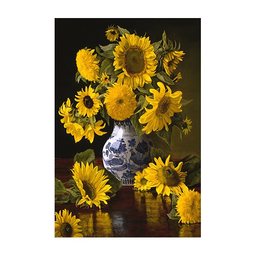 "iCanvas ""Sunflowers in Blue and White Chinese Vase"" Canvas Wall Art by Christopher Pierce"