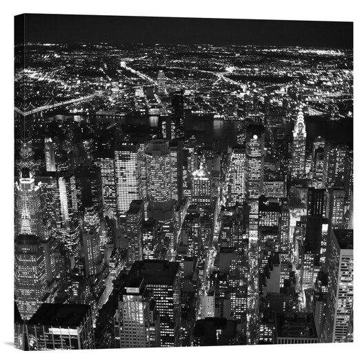 Bentley Global Arts 'Night aerial view of midtown Manhattan' by Cameron Davidson Photographic Print on Canvas