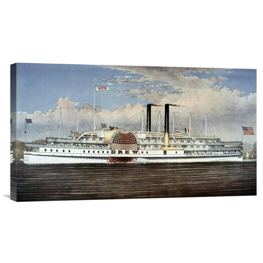 Bentley Global Arts 'People's Line - Hudson River, The Palace Steamers of The World' by Currier and Ives Graphic Art on Canvas
