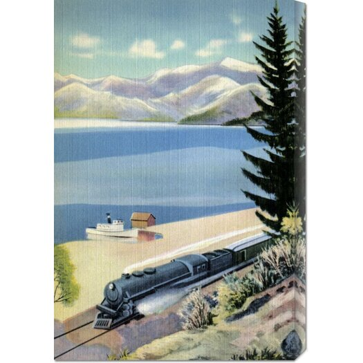 Bentley Global Arts 'Steaming Along the Coast' by Retro Travel Painting Print on Canvas