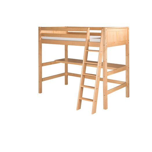 Camaflexi High Loft Bed with Desk and Panel Headboard