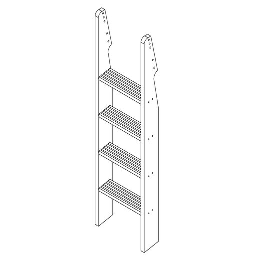 Camaflexi Low Bunk Bed with Lateral Angle Ladder and Drawers