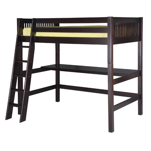 Camaflexi High Loft Bed with Desk and Mission Headboard