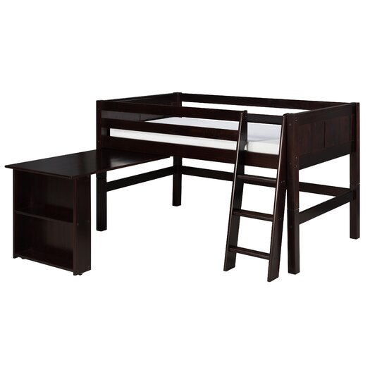 Camaflexi Twin Low Loft Bed with Retractable Desk