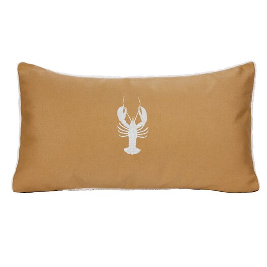 Nantucket Bound Sunbrella Beach Pillow with Embroidered Lobster and Terry Cloth backs