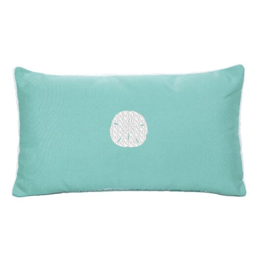 Nantucket Bound Sunbrella Beach Pillow with Embroidered Sand Dollar and Terry Cloth backs