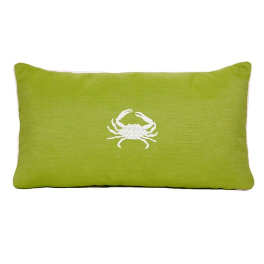 Nantucket Bound Sunbrella Beach Pillow with Embroidered Crab and Terry Cloth backs