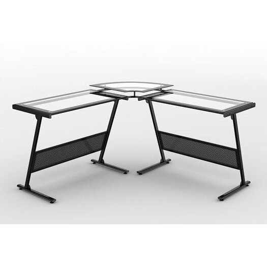 Z-Line Designs Delano Glass L-Shape Computer Desk