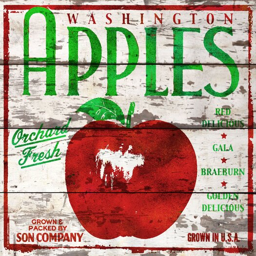 Washington Apples Reclaimed Wood - White Barn Siding Art