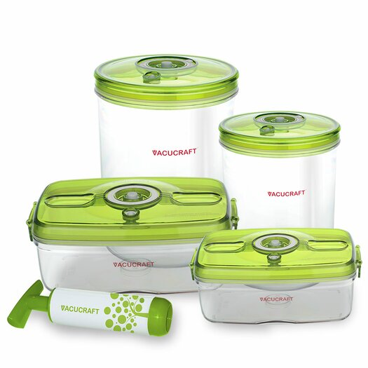 Vacucraft 5-Piece Versatile Vacuum Food Container Set