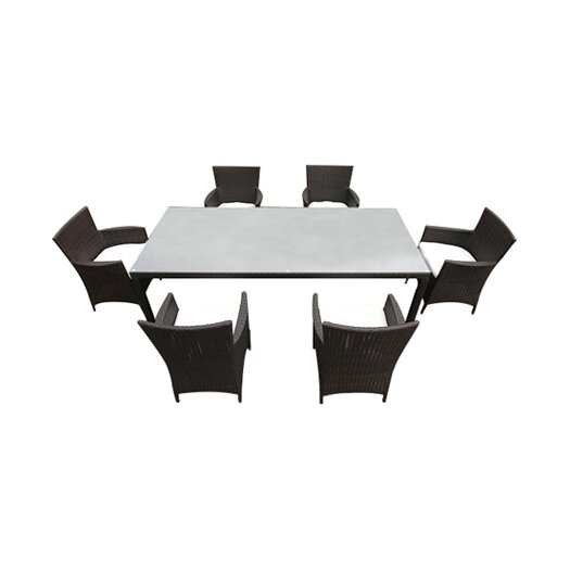 Beliani Italy 160 7 Piece Dining Set