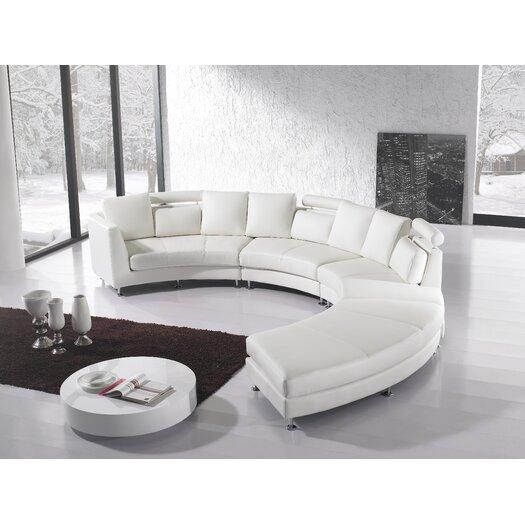 Beliani Rotunde 4 Piece Leather Circular Living Room Set