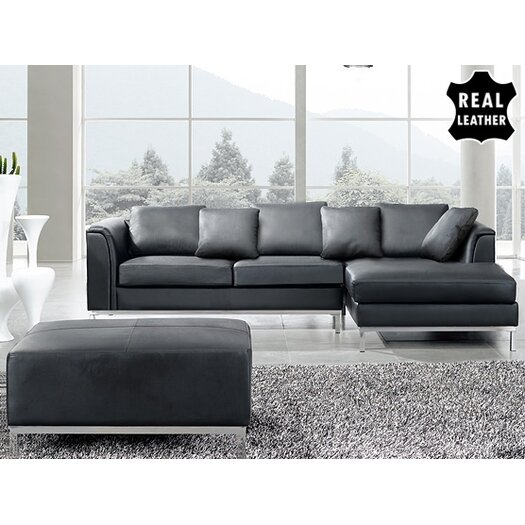 Beliani Oslo 3 Piece Leather Living Room Set