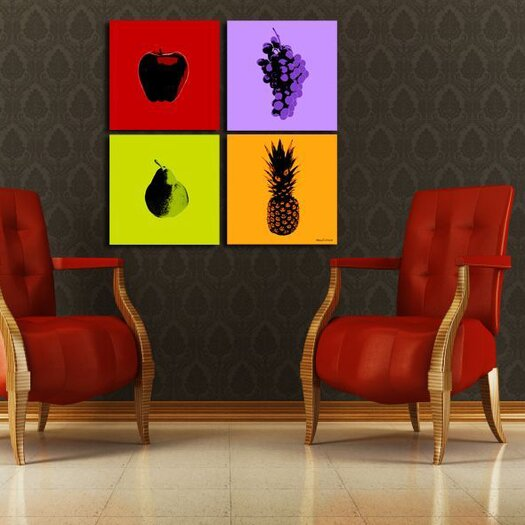 Maxwell Dickson 4-Piece Fruits Graphic Art on Canvas