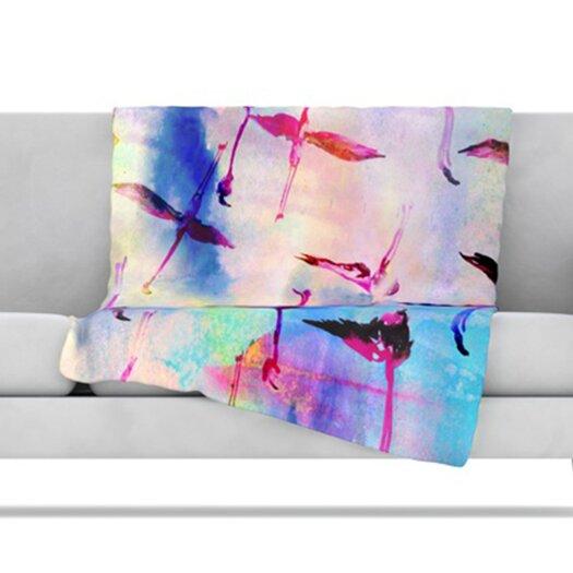 KESS InHouse Flamingo in Flight Fleece Throw Blanket