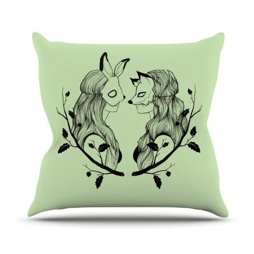 KESS InHouse Foxy Buns Throw Pillow