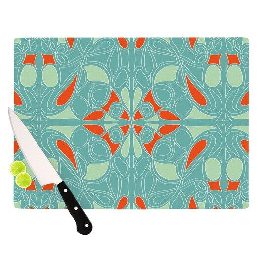 KESS InHouse Seafoam And Orange Cutting Board