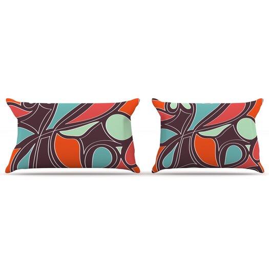 KESS InHouse Retro Swirl Pillow Case