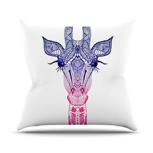 KESS InHouse Rainbow Giraffe Throw Pillow