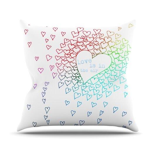 KESS InHouse Rainbow Hearts Throw Pillow