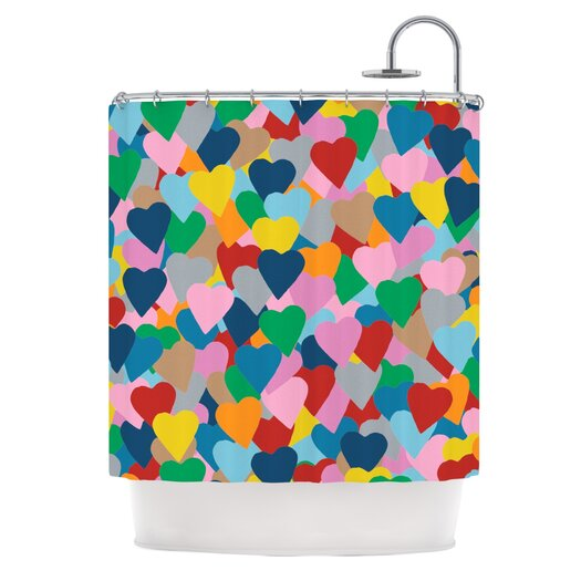 KESS InHouse More Hearts Polyester Shower Curtain
