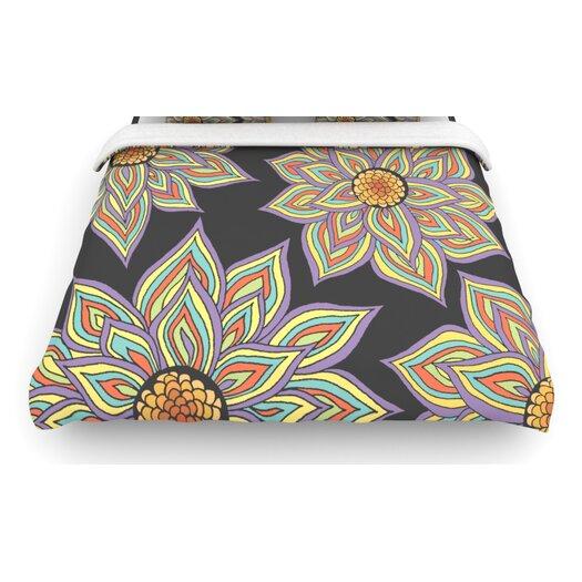 "KESS InHouse ""Floral Rhythm in the Dark"" Woven Comforter Duvet Cover"