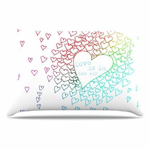 KESS InHouse Rainbow Hearts Pillowcase
