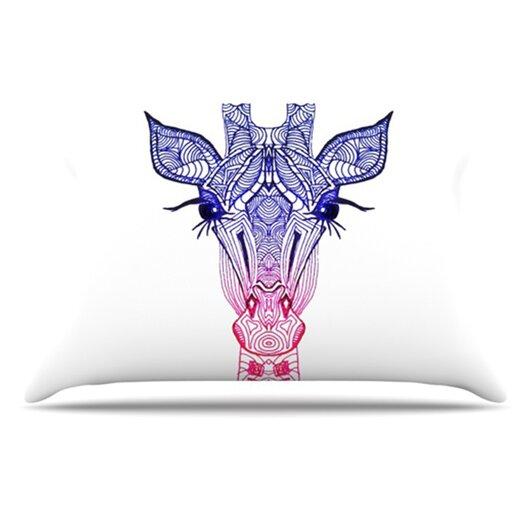 KESS InHouse Rainbow Giraffe Pillowcase