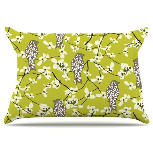 KESS InHouse Blossom Bird Pillowcase