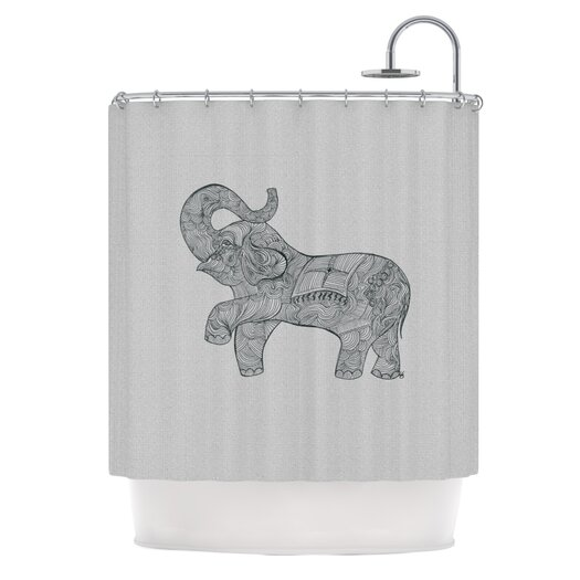 KESS InHouse Elephant Polyester Shower Curtain