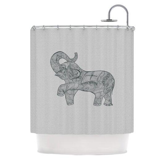 KESS InHouse Elephant Polyester Shower Curtain
