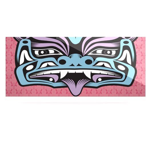 KESS InHouse Fu Dog by Louie Gong Graphic Art Plaque in Blue/Pink
