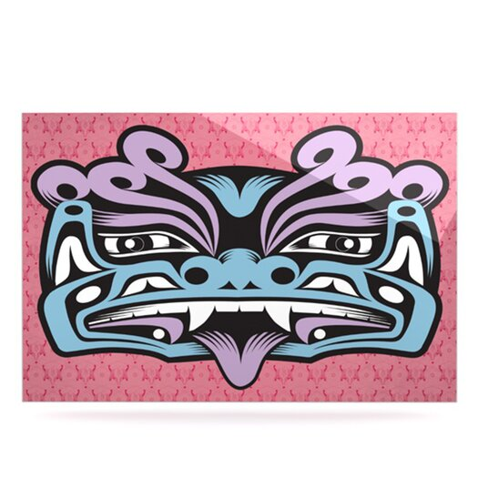 KESS InHouse Fu Dog by Louie Gong Graphic Art Plaque in Blue and Pink
